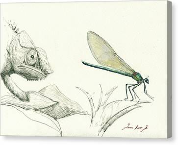 Dragonfly With Chameleon Canvas Print by Juan Bosco