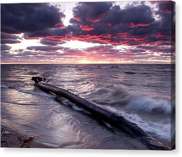 Drama Over Lake Erie Canvas Print by At Lands End Photography
