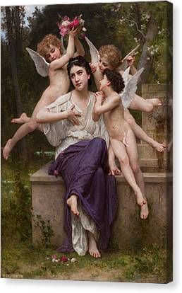 Super Girl Canvas Print - Dream Of Spring by William-Adolphe Bouguereau