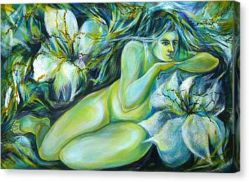 Canvas Print featuring the painting Dreaming Flower by Anna  Duyunova