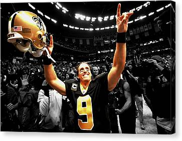 Drew Brees Canvas Print by Brian Reaves