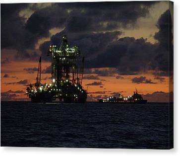 Canvas Print featuring the photograph Drill Rig At Dusk by Charles and Melisa Morrison