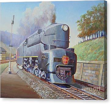 Canvas Print featuring the painting Duplex Express by Mike Jeffries