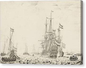 Dutch Ships Near The Coast Canvas Print