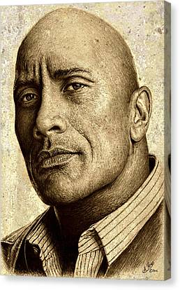 Dwayne The Rock Johnson Canvas Print by Andrew Read