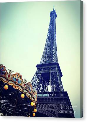 Eiffel Tower And Carousel. France. Europe. Canvas Print
