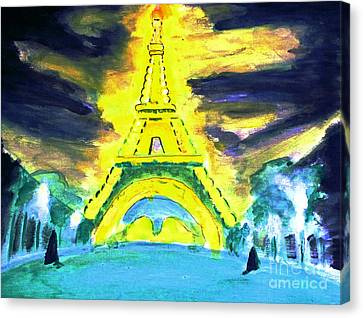 Eiffel Tower Night Optical Illusion Canvas Print