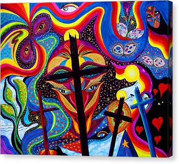 Canvas Print featuring the painting Crosses To Bear by Marina Petro