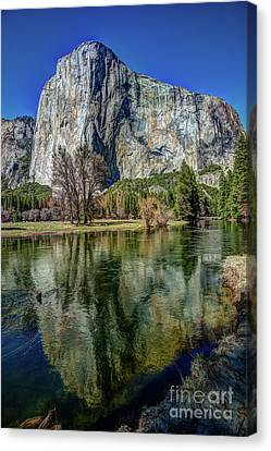 Canvas Print - El Capitan Reflected In The Merced River Of Yosemite by Terry Garvin