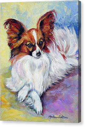 Elegance - Papillon Dog Canvas Print by Lyn Cook