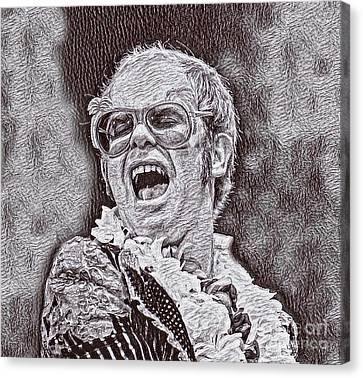 Elton John Drawing Canvas Print by Pd