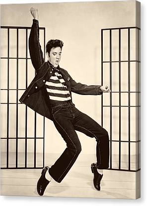 1950s Portraits Canvas Print - Elvis Presley In Jailhouse Rock 1957 by Mountain Dreams
