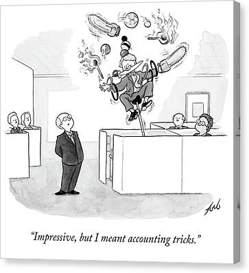 Employee Shows Boss Circus Tricks. Canvas Print by Tom Toro