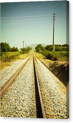 Empty Railway Canvas Print by Carlos Caetano