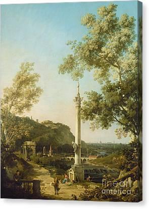 English Landscape Capriccio With A Column Canvas Print by Canaletto
