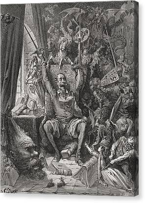 Miguel Drawing Canvas Print - Engraving By Gustave Dore 1832-1883 by Vintage Design Pics