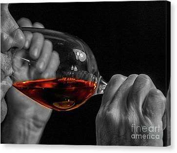 Enjoying Wine Canvas Print by Patricia Hofmeester