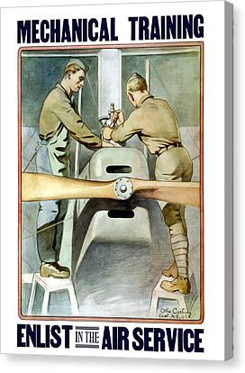 Mechanical Training - Enlist In The Air Service Canvas Print by War Is Hell Store