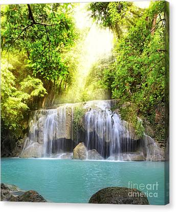 Erawan Waterfall Canvas Print by Anek Suwannaphoom