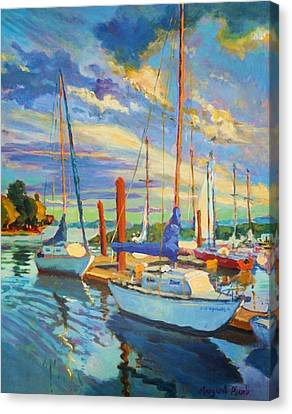 Evening At The Marina Canvas Print by Margaret  Plumb