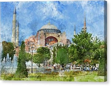 Exterior Of The Hagia Sophia In Sultanahmet, Istanbul Canvas Print by Brandon Bourdages