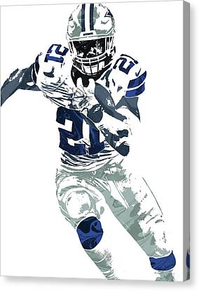 Ezekiel Elliott Dallas Cowboys Pixel Art 6 Canvas Print by Joe Hamilton