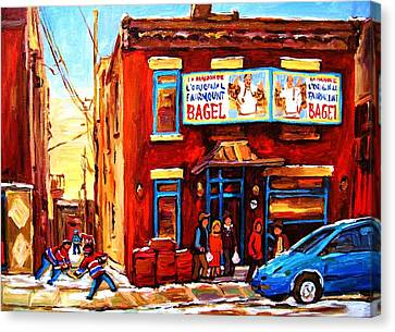 Montreal Winter Scenes Canvas Print - Fairmount Bagel In Winter by Carole Spandau