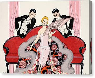 Tuxedo Canvas Print - Falbalas Et Fanfreluches by Georges Barbier