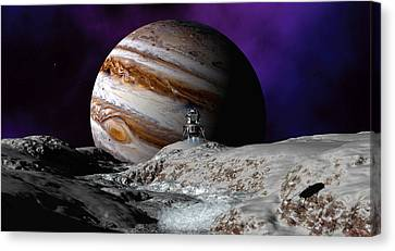 Canvas Print featuring the digital art Falcon Over Europa by David Robinson