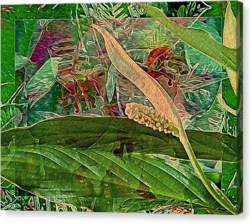 Fantasy With African Violets And Peace Lily Yellow And Green Canvas Print by Lynda Lehmann