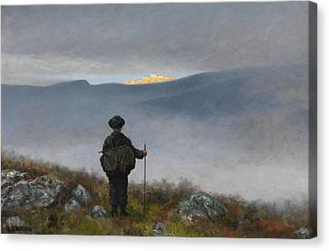 Far, Far Away Soria Moria Palace Shimmered Like Gold Canvas Print by Theodor Kittelsen