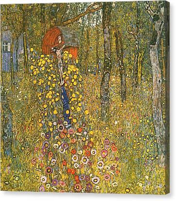 Farm Garden With Crucifix Canvas Print by Gustav Klimt