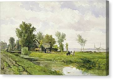 Farm On A Ditch Canvas Print by Willem Roelofs