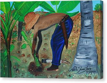 Canvas Print featuring the painting Farmer Planting Banana Tree by Nicole Jean-Louis