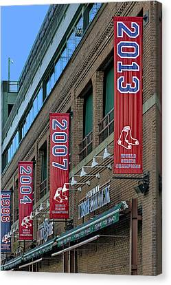Fenway Boston Red Sox Champions Banners Canvas Print by Susan Candelario