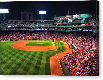 Fenway Park At Night - Boston Canvas Print by Joann Vitali