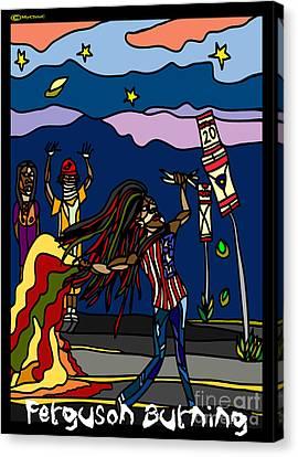 Ferguson Burning II Canvas Print by Art by MyChicC