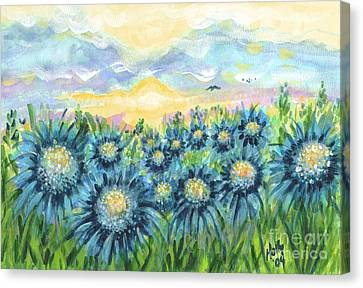 Field Of Blue Flowers Canvas Print by Holly Carmichael