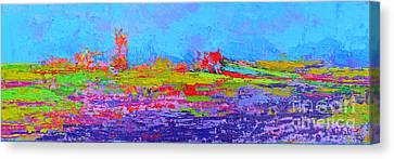 Field Of Flowers Modern Abstract Landscape Painting - Palette Knife Work Canvas Print by Patricia Awapara
