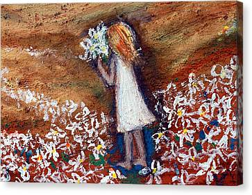 Canvas Print featuring the painting Field Of Flowers by Winsome Gunning