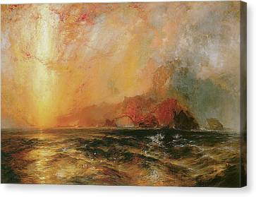 Thomas Moran Canvas Print - Fiercely The Red Sun Descending Burned His Way Along The Heavens by Thomas Moran