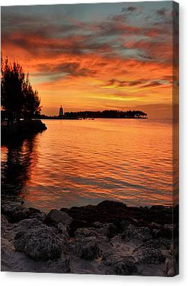 Canvas Print featuring the photograph Fiery Sunset Reflections by Stephen  Vecchiotti