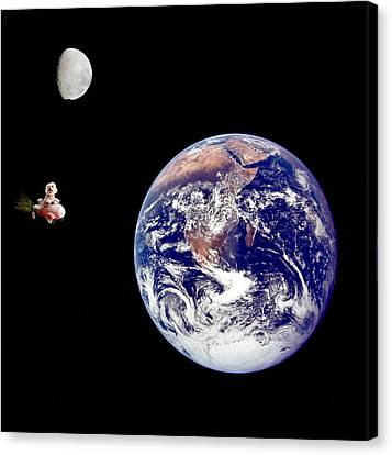 Fifi Goes To The Moon Canvas Print by Michael Ledray