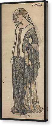 Figure Of Guinevere Canvas Print by William Morris