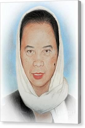 Filipina Canvas Print - Filipina Woman Wearing A Scarf by Jim Fitzpatrick