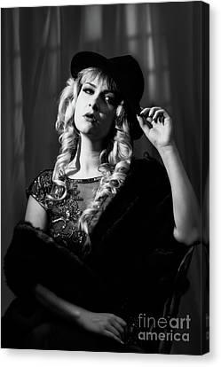 Film Noir Woman Canvas Print by Amanda Elwell