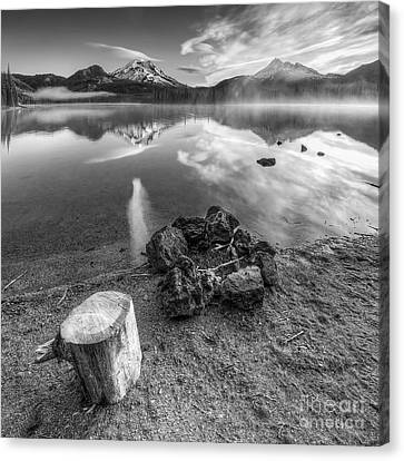 Firepit In Black And White Canvas Print