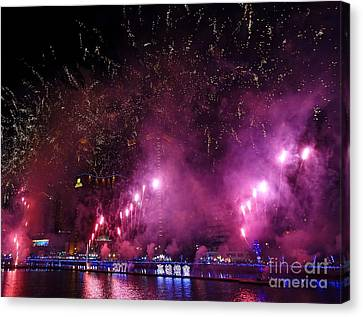 Fireworks Along The Love River In Taiwan Canvas Print by Yali Shi