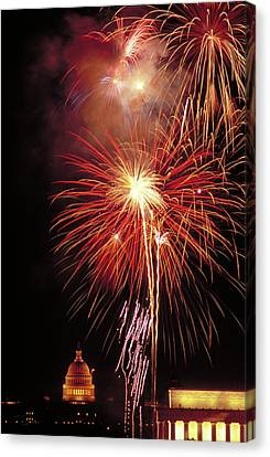 Fireworks Over The Washington Mall Canvas Print by Carl Purcell