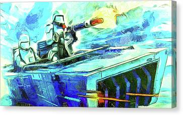 Outer Space Canvas Print - First Order Snowmobile - Van Gogh Style by Leonardo Digenio